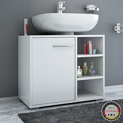 Waschbeckenunterschrank mit Siphonausschnitt in weiß - 2