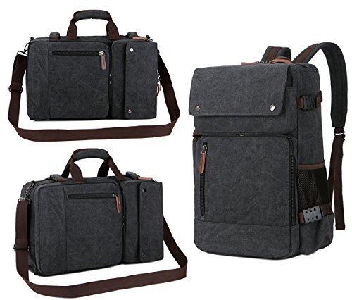 Baosha Multifunktions-Aktentasche Rucksack Messenger Bag Convertible Jahrgang Leinwand Laptop Rucksack groß schwarz (Convertible Messenger)