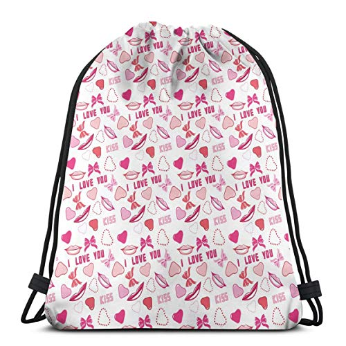 Chanel Bow (BBABYY Printed Drawstring Backpacks Bags,Romance Related Images In Pink Pattern with Bows Lips Valentines Hearts,Adjustable String Closure)