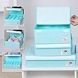Sivin DOT Sky pieghevole Storage box Bra Underwear organizer per armadio cassetto divisore, Microfibra, Dot Sky, 3pcs(bra box+16-cells+24-cells)
