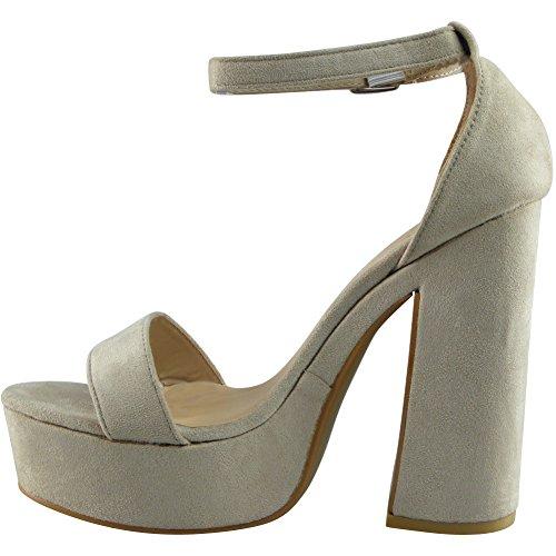 Da donna Cinturino alla caviglia piattaforma Bloccare Tacco Sandali Scarpe Dimensione 36-41 Beige