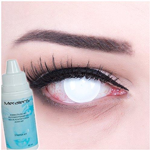 Farbige Kontaktlinsen Blind White komplett weiß, STARKE SICHTEINSCHRÄNKUNG ,weich ohne Stärke, 2er Pack inkl. Behälter und 60ml Pflegemittel - Top-Markenqualität, angenehm zu tragen und perfekt zu Halloween oder - Halloween-filme Hoch