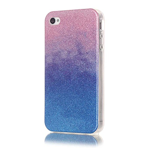 Apple iPhone 4/4S Hülle,Apple iPhone 4/4S Case,Cozy Hut® TPU Case Schutzhülle Protection Protective Haut und Soft Schutz Tasche Etui Bumper Farbmalerei Blau Kleine Sterne Punkt Muster Design Stil für Apple iPhone 4/4S Handy Hülle Schutzhüllen Cover Etui Schale - Powder Blue