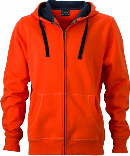 James & Nicholson Herren Sweatshirt Sweatjacke Men's Hooded Jacket dark-orange/carbon