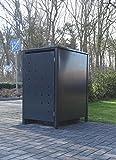 Srm-Design 1 Mülltonnenbox Modell No.4 für 120 Liter Mülltonnen/Komplett Anthrazit RAL 7016/witterungsbeständig durch Pulverbeschichtung/mit Klappdeckel und Fronttür
