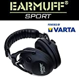 Schützen Sport-/Jagd Gehörschutz 24dB EARMUFF elektronischer AKTIV Gehörschutz Kopfhörer + Batterien (Matt Schwarz)