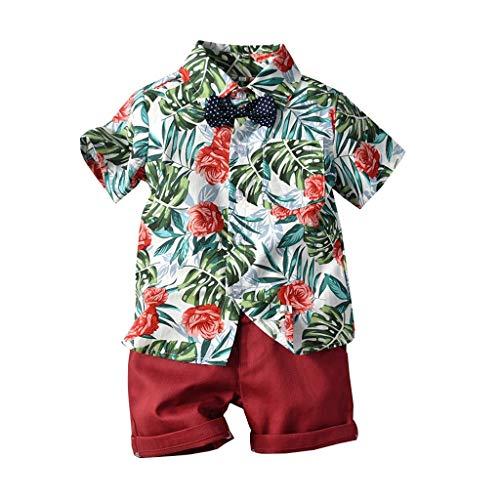 leinkind Baby Boy Bekleidung Kurzarm Fliege Gentleman Leaf T-Shirt Tops + Shorts Outfits,Mit Tasche Party Freizeitanzug(Grün,3-4 Jahre/120) ()