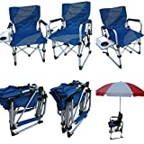'Amaze' Folding Aluminium Beach swimming pool outdoor portable light weight multi utility Director Chair with side table and drink holder (Blue/Grey)
