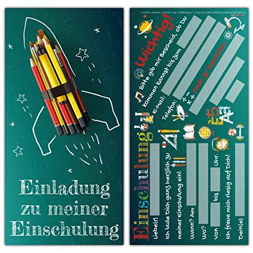 BREITENWERK 12 Einladungskarten Einschulung Set Rakete - Einschulungskarten Einladung für Kinder zum Schulbeginn Schuleingang Schulanfang Karten