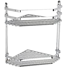 Swedish Chrome 2 Shelf Corner Caddy with 5 Year Guarantee Size: 20X30X20 by Satina