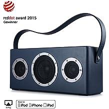 [Apple Airplay Certificato] GGMM M4 Altoparlante senza Fili WiFi+Bluetooth Stereo Portatile per Musica in Streaming, Usi Interni ed Esterni, Batteria incorporata, 10 Ore di Autonomia, Potente 40W Audio Driver, Bass Boost, Multiroom Play (Blu)