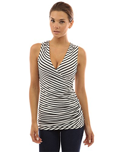 PattyBoutik gestreiften Damen Bluse mit V-Ausschnitt und Faux Wrap (Elfenbein mit schwarzen Streifen 40/M) (Bluse Faux Wrap)