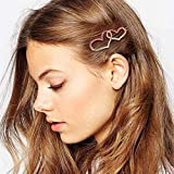 DEMU Set Haarspange Haarklammer Haarnadeln Haarschmuck Metall Haar Clips Pin für Damen Mädchen 6pcs Herzen