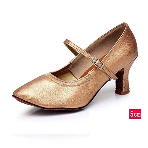 Wxmddn Femmina danza moderna scarpe marrone scarpe da ballo donna adulto 5cm tacco alto outdoor scarpe da ballo soft suole di scarpe da ballo quattro stagioni Brown 5cm per esterno