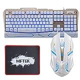 Gaming Tastatur und Maus Set - MFTEK USB verdrahtete LED Backlit Luminous Drei Farben Blau/Rot/Purpur Einstellbare 3 Stufe Helligkeit einstellbar Gaming Tastatur und Maus Combo