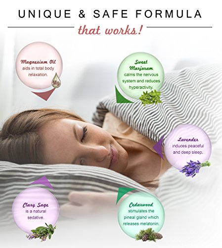 Premium Natural Sleeping Aid for Insomnia and Good Night's Sleep – Pure Magnesium Oil Spray Blended with Organic Therapeutic Essential Oils (Cedarwood, Lavender, Sweet Marjoram & Clary Sage) (4 fl oz /120ml)