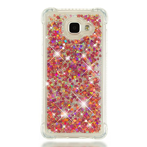 Phcases Cover per Samsung Galaxy A5(2016)/A510,Cover Glitter Liquido, Brillantini Sabbia Custodia con Ultraslim Morbida Silicone Trasparente TPU Paraurti Cover Protettiva(Rosa Rossa).