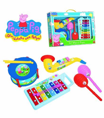 REIG Peppa Pig���2324���Musical Instruments���Xylophone, Drum, Saxophone and Maracas Set