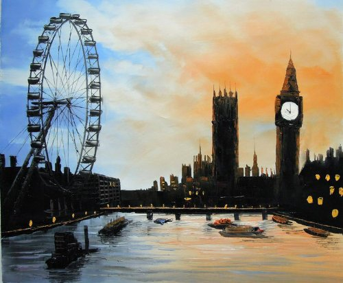london-eye-and-big-ben-from-the-river-thames-fine-art-oil-on-canvas-painting-superb-quality-and-craf