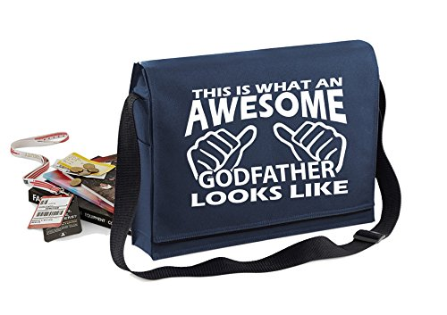 Awesome Godfather-Unisex-lustige Sprüche Neuheit Bagbase Konferenz Messenger Bag- Navy blau