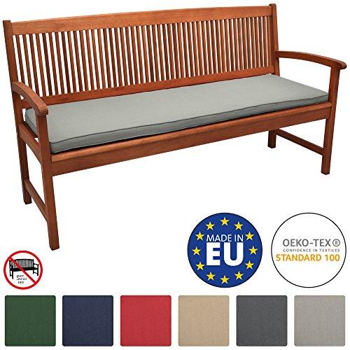Beautissu Loft BK Bankauflage Auflage für Gartenbank Sitzkissen 150x48x5cm Hellgrau Polsterauflage mit Oeko-Tex