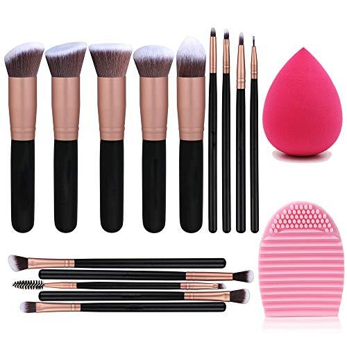 14 Stück Make-up Pinsel Premium Synthetic Foundation Puder Concealer Lidschatten Make-up + Schwamm Puderquaste + Peeling Egg