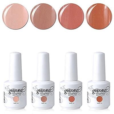 Elite99 Soak Off Gel Polish Lacquer UV LED Nail Art Manicure Kit 4 Colors Set 15ml