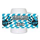 Lustiger Bierkrug mit Namen Katja und schönem Motiv Finger weg! Dieses Bier gehört Katja   Bier-Humpen   Bier-Seidel