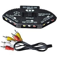 SODIAL (R) Nero nuovo Selettore 3 porte AV Audio RCA Phono - Gamecube Accessori