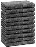 10er Pack Gästehandtücher Gästetuch Premium Farbe Anthrazit Grau Größe 30x50 cm 100% Baumwolle