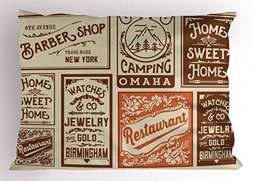 Lunarable Old Zeitung Kissen Sham, Verschiedene Werbung Schilder Barber Shop Restaurant Camping Schmuck, Dekorative Standard Größe Gedruckt Kissenbezug, Braun Orange Hellbraun 30