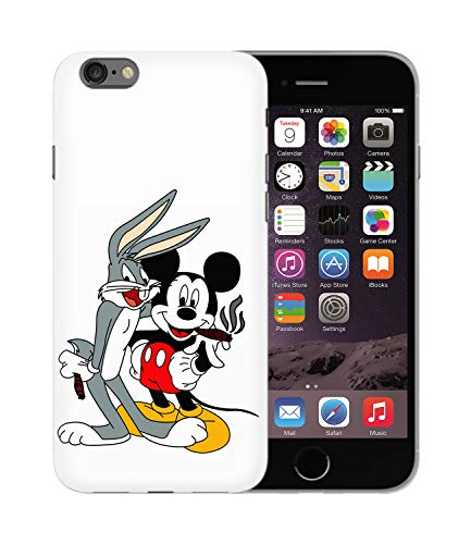 Bugs Bunny & Mickey Mouse Best Buds Smoking Weed_BEN2679 Protective Phone Mobile Smartphone Case Handyhülle Hülle Cover Hard Plastic for Samsung Galaxy S9+ Plus Funny Gift Christmas - Bugs Glitter