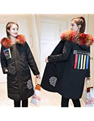 MRX Versión Suelta de la Moda de Abajo Chaqueta de Invierno Mujeres Mujeres Abajo de la Chaqueta de Las Mujeres en la Sección Larga Del Nuevo Collar Grande Y Grueso,Negro,L