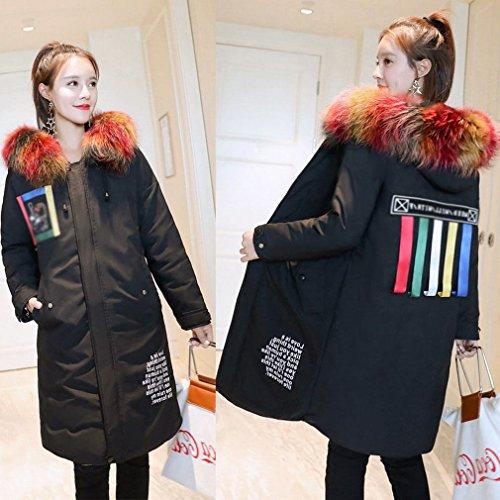 MRX Fashion Lose Version von Daunenjacke Winter Frauen Frauen Daunenjacke Frauen im Langen AbschniDes Neuen Dicken Großen Kragen,Schwarz,L