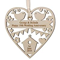 Alphabet barn Personalised Wedding Gift for Couple Him Her Wooden Heart Decoration Engraved Keepsake Plaque 12.5cm x 12.5cm