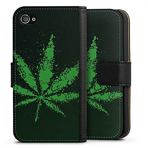 Apple iPhone X Silikon Hülle Case Schutzhülle Blatt Gras Hanf Sideflip Tasche schwarz