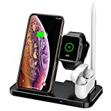 CARPURIDE Compatible with 4 in 1 Caricatore Wireless iWatch 2/3/4/5 e AirPods 2/PRO, 10W Qi Wireless Caricabatterie Supporto di Ricarica Docking per iPhone 11/PRO/Max/XS Max/XR/X/8