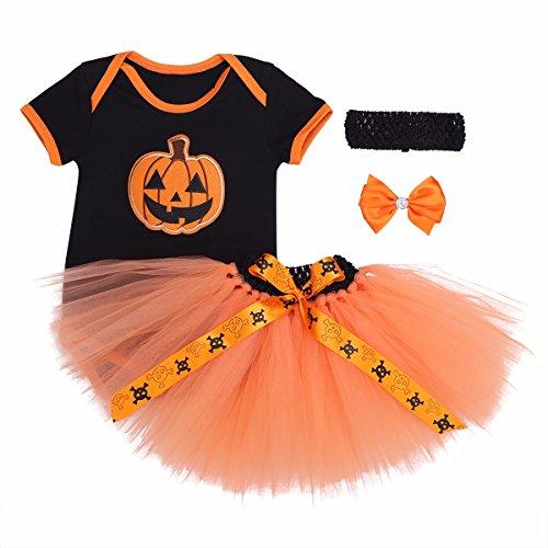 FEESHOW Baby Mädchen Bekleidung set Spielanzug + Tutu Rock + Stirnband Halloween Kürbis Kostüm Outfits Kürbis 62/0-3 Monate (0 3 Monat Kürbis Kostüm)