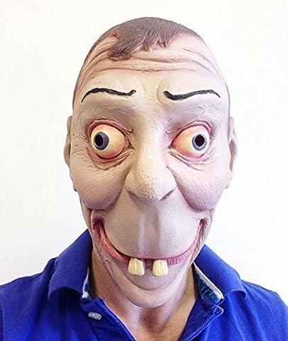 Funny Geek Face Latex Mask Norman Nerd Big Teeth Fancy Dress Stag Party Joke