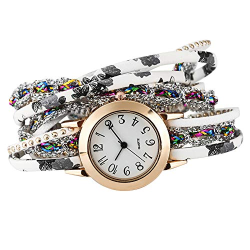 Gold Element Kostüm - Jingyuu Damen-Armbanduhr, Vintage, geflochtenes Armband aus Kunstleder, Armband mit Kette, Modeschmuck, Geschenk zum Geburtstag