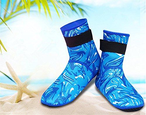 Interesting Neopren 3mm Wassersport Schwimmen Tauchen Surfen Socken Boden Stiefel Scuba Socken(Blaue Camouflage XL)