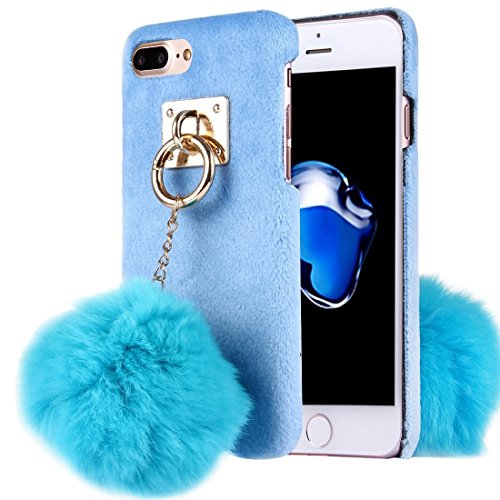 Hülle für iPhone 7 plus , Schutzhülle Für iPhone 7 Plus Plüsch Tuch Abdeckung PC Schutzhülle mit Pelz Ball Kette Anhänger ,hülle für iPhone 7 plus , case for iphone 7 plus ( Color : Black ) Blue