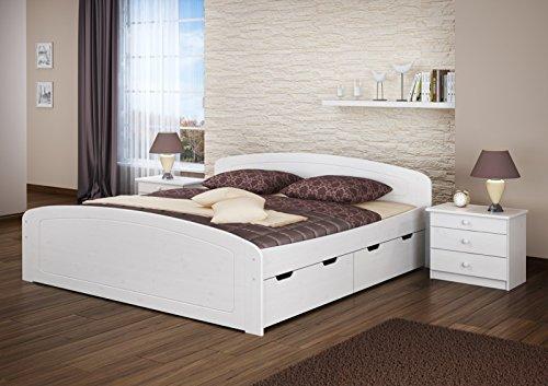 Erst-Holz® Ehebett Doppelbett Bettkasten 180×200 Seniorenbett Massivholz Kieferbettgestell Weiß 60.50-18 W or