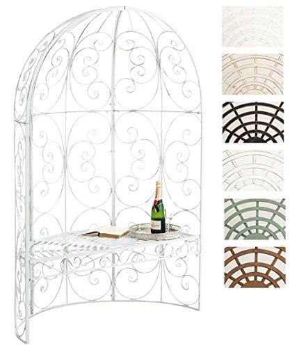 Clp padiglione da giardino con panca rosie - gazebo padiglione in ferro i pergola da giardino semiluna, portata max 200 kg i arco per piante rampicanti i pergola ad arco stile romantico bianco antico