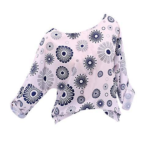 OSYARD Damen Oberseiten,Pullover,Sweatshirt, Frauen Tunika Hemd Oberteile Große Größe Blumendruck Pulli Kleidung Freizeit Langarm Rundhals T-Shirt Top Bluse(XL, Rosa)