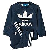 adidas I CREWSET Denim Tuta Sport, Erwachsene, Kinder, blau/weiß, 68
