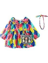 Mitlfuny Invierno Grueso Niñas Princesa Vestido de Manga Larga árboles Estampado Más Terciopelo Party Fiesta Algodón Faldas + Banda de Pelo + Bolsa para Niños Bebé Ropa Recien Nacido 0~24 Meses