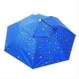 Ombrello pieghevole a 2 strati Copricapo antivento Copricapo Cappello da pioggia Attrezzatura da pesca Escursionismo Campeggio da spiaggia Sport all'aria aperta Ombrellone Blu