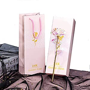 ALLOMN Rosa, Flores Artificiales, 24K