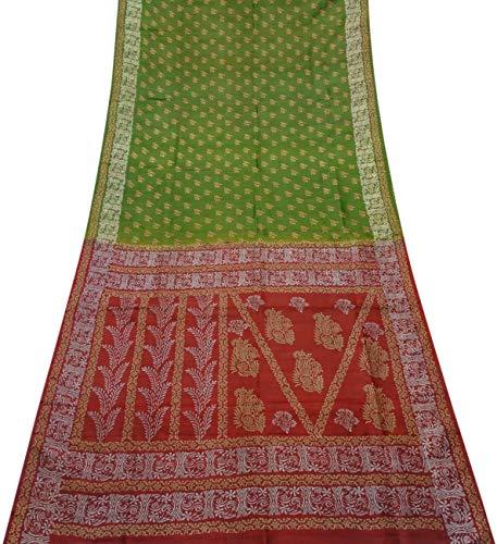 PEEGLI Vintage Indische Grüne Sari Freizeitkleidung Tier Design Frauen Ethnischen Saree Gedruckt Aus Reiner Seide DIY Nähen Glänzendem Stoff -
